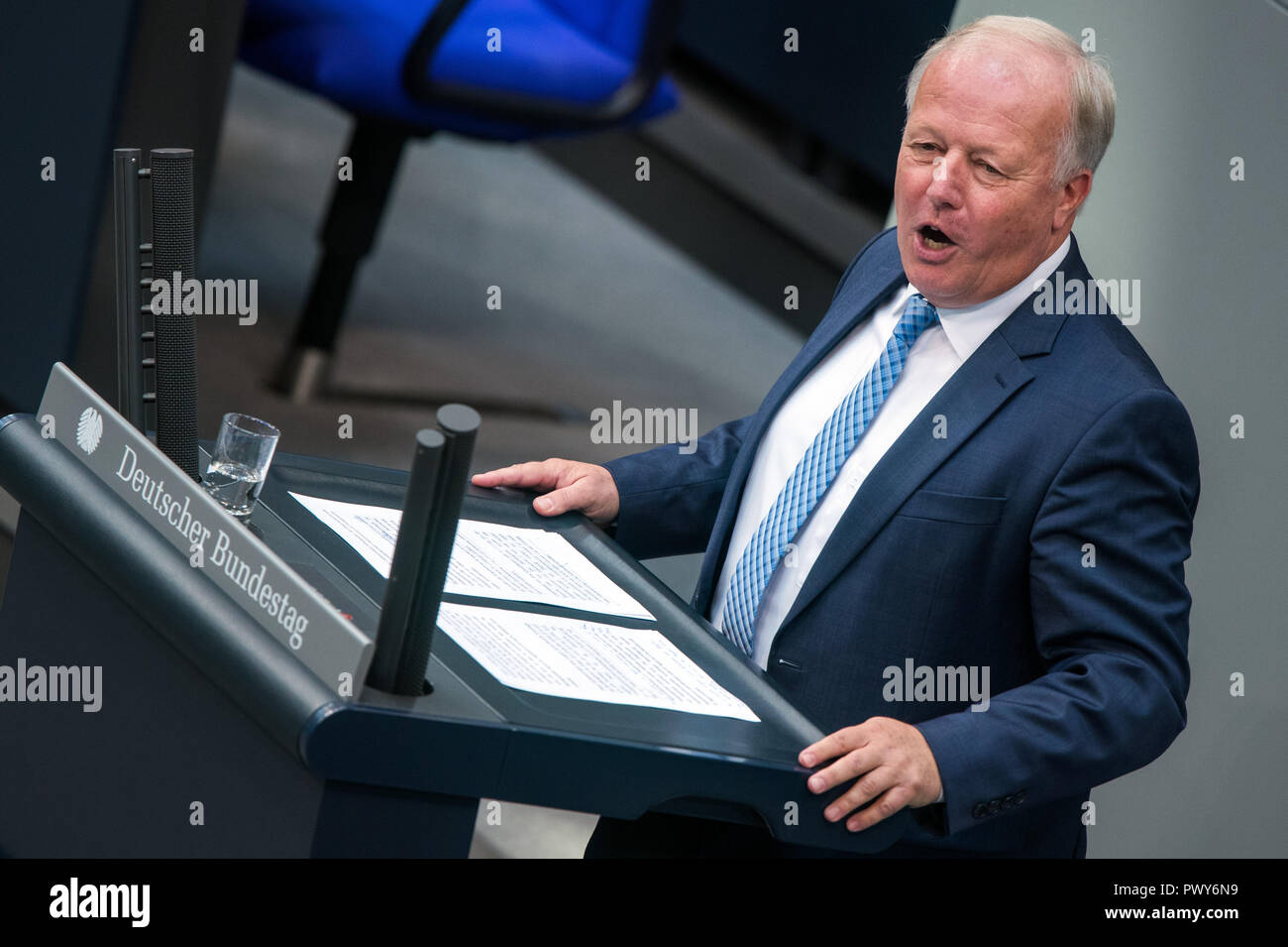 Berlin, Germany. 18th Oct, 2018. Peter Weiß, member of the Bundestag of the CDU/CSU parliamentary group, speaks in the Bundestag. Credit: Jens Büttner/dpa-Zentralbild/dpa/Alamy Live News - Stock Image