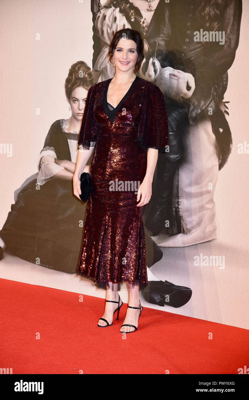 London, UK. 18th Oct, 2018. Rachel Weisz,'The Favourite'premiere,BFI London Film Festival,London.UK Credit: michael melia/Alamy Live News - Stock Image