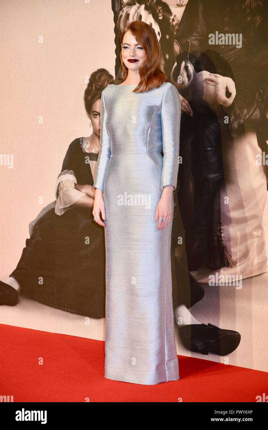 London, UK. 18th Oct, 2018. Emma Stone,'The Favourite'Premiere,BFI London Film Festival,London.UK Credit: michael melia/Alamy Live News - Stock Image