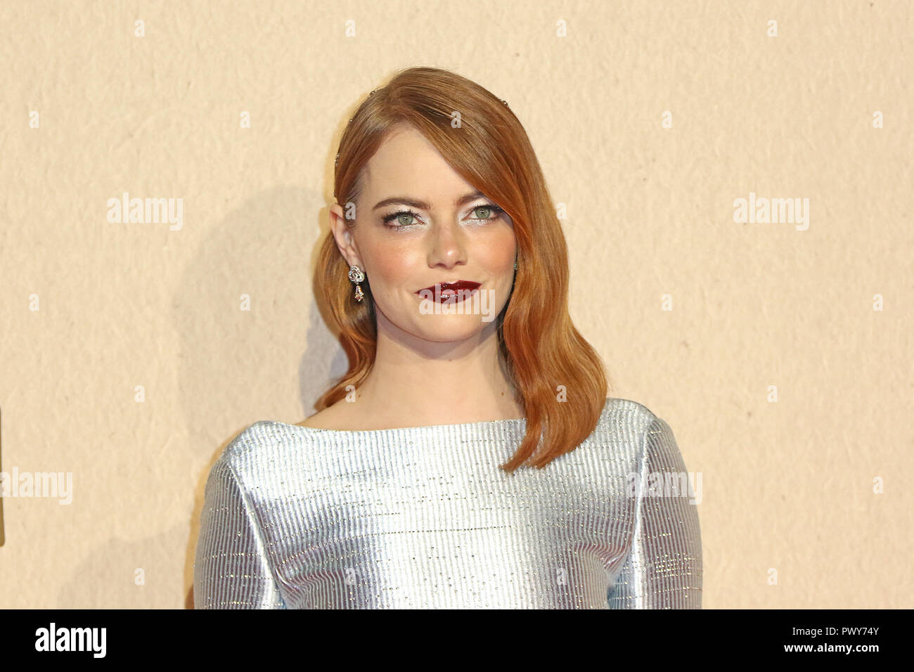 London, UK. 18th October, 2018. Emma Stone, The Favourite - UK Premiere, BFI London Film Festival, BFI Southbank, London, UK, 18 October 2018, Photo by Richard Goldschmidt Credit: Rich Gold/Alamy Live News - Stock Image