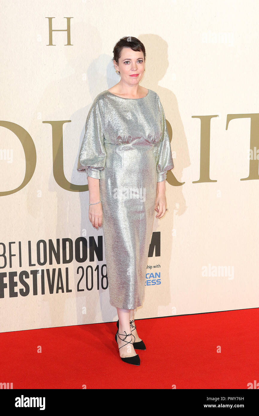 London, UK. 18th October, 2018. Olivia Colman, The Favourite - UK Premiere, BFI London Film Festival, BFI Southbank, London, UK, 18 October 2018, Photo by Richard Goldschmidt Credit: Rich Gold/Alamy Live News - Stock Image
