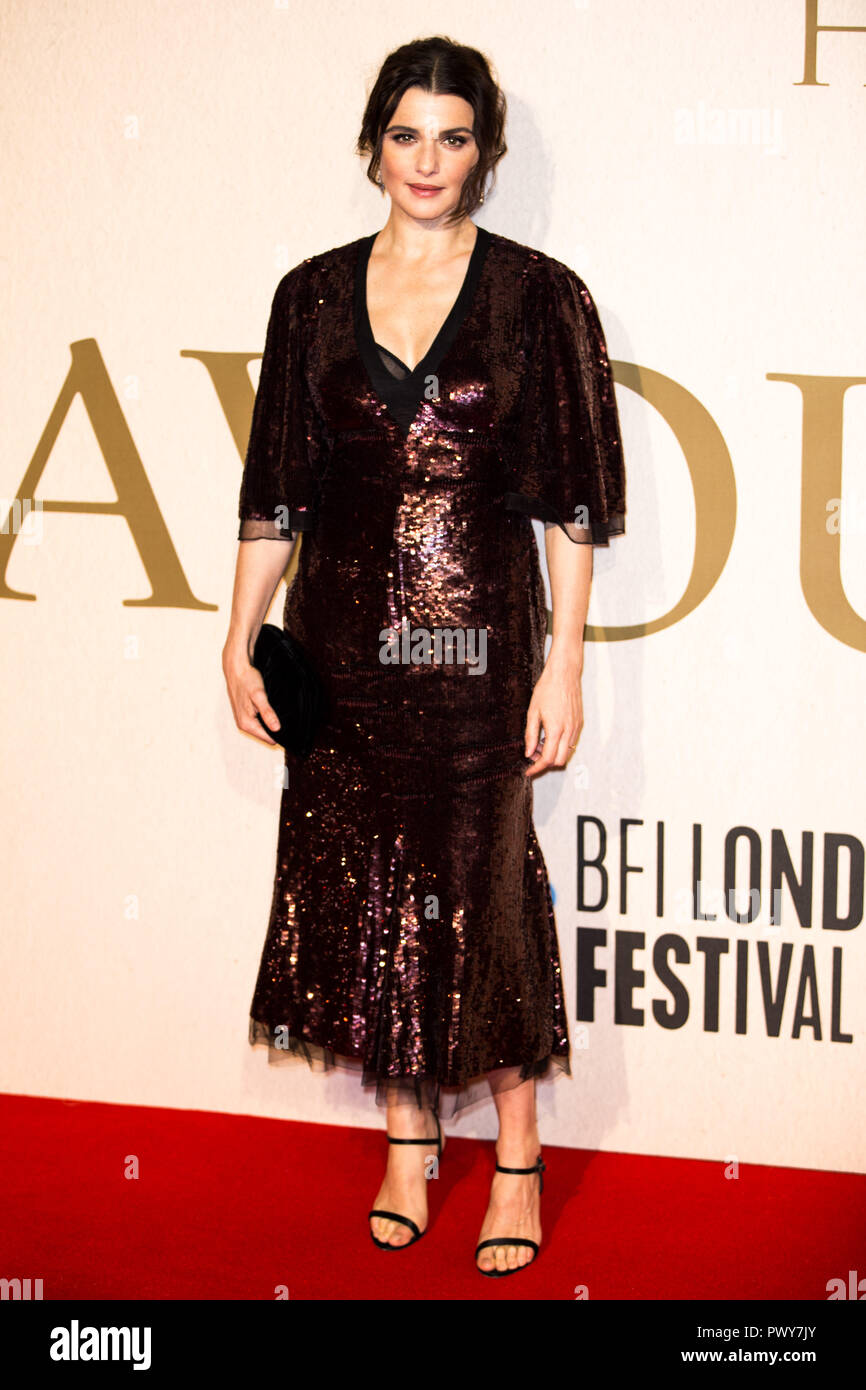 London, UK. 18th Oct, 2018. Rachel Weisz at The Favourite UK Premiere at the BFI London Film Festival American Express Gala on 18th October 2018 at BFI Southbank - London Credit: Tom Rose/Alamy Live News - Stock Image