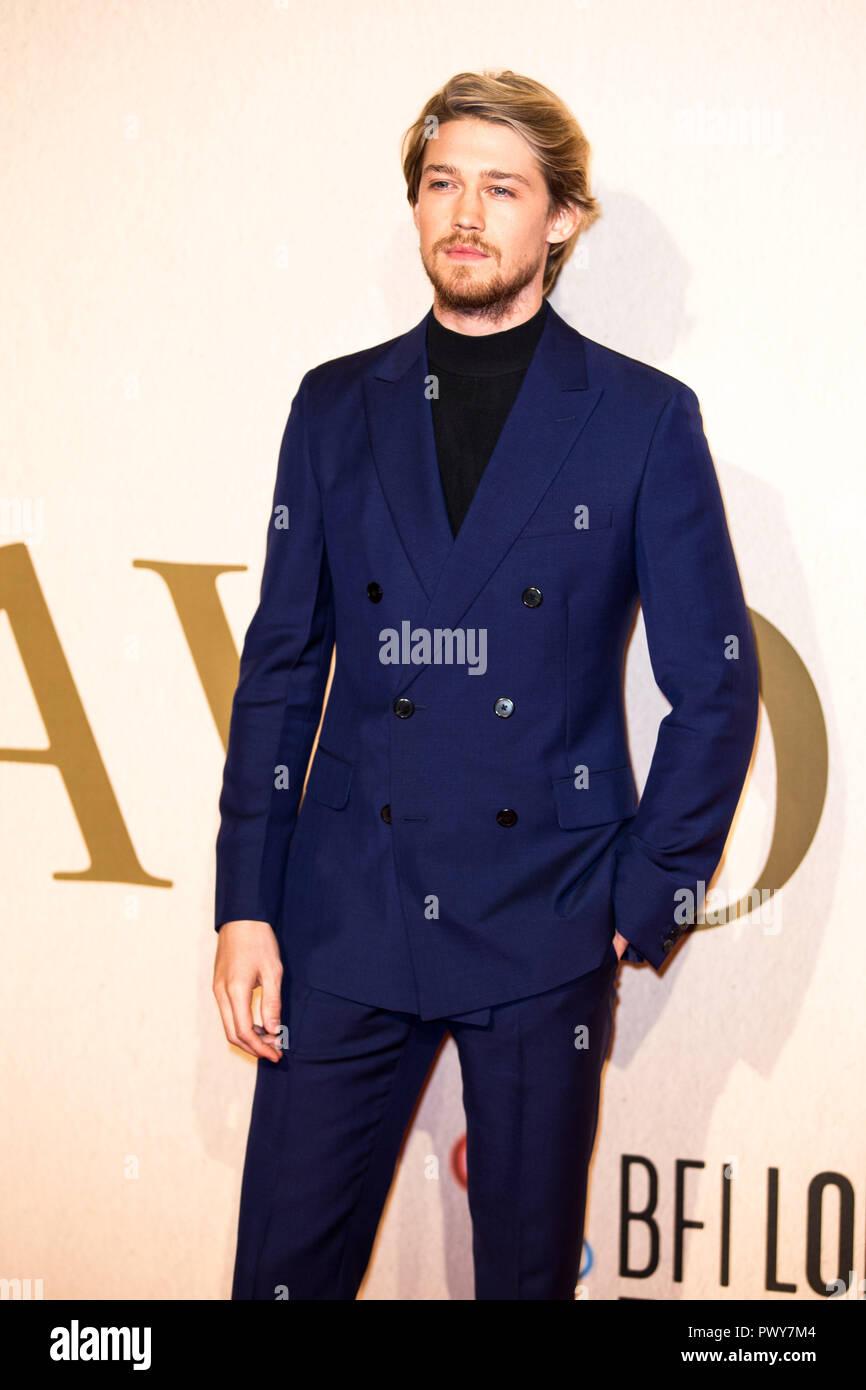 London, UK. 18th Oct, 2018. Joe Alwyn at The Favourite UK Premiere at the BFI London Film Festival American Express Gala on 18th October 2018 at BFI Southbank - London Credit: Tom Rose/Alamy Live News - Stock Image