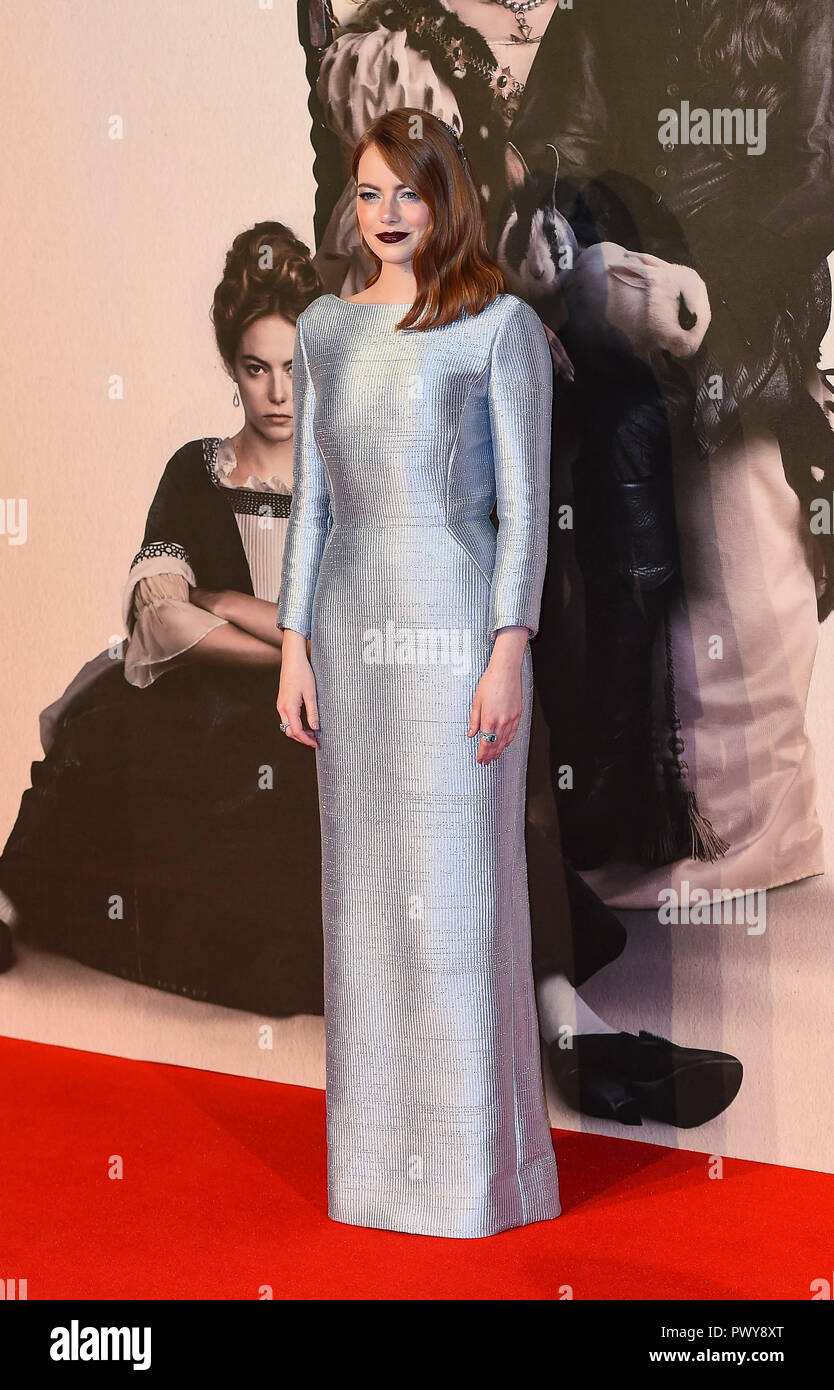 London, UK. 18th October, 2018. Emma Stone attends the UK Premiere of 'The Favourite' & American Express Gala at the 62nd BFI London Film Festival on October 18, 2018 in London, England. Credit: Gary Mitchell, GMP Media/Alamy Live News - Stock Image