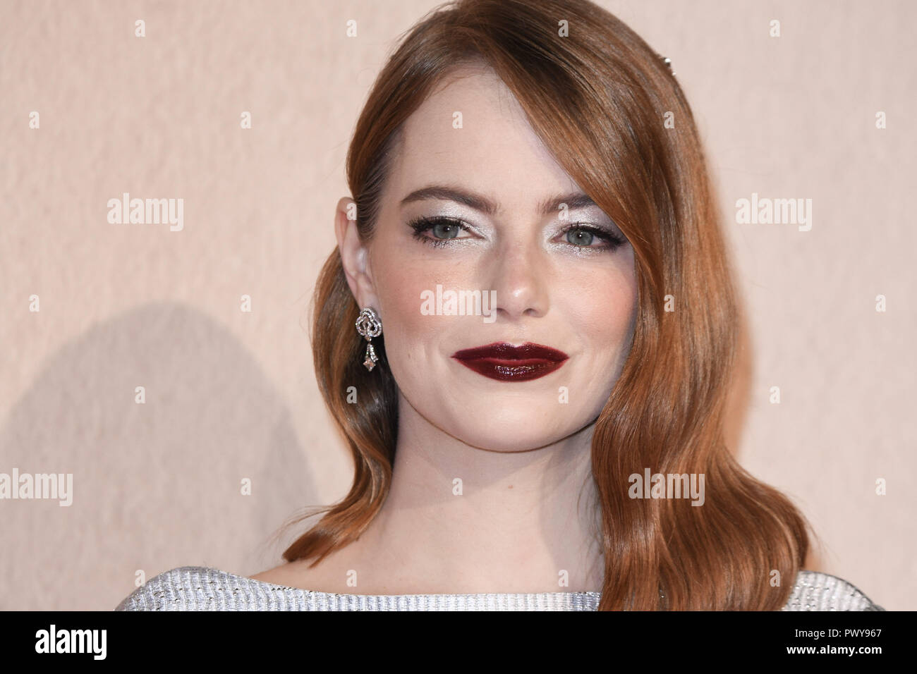 LONDON, UK. October 18, 2018: Emma Stone at the London Film Festival screening of 'The Favourite' at the BFI South Bank, London. Picture: Steve Vas/Featureflash Credit: Paul Smith/Alamy Live News - Stock Image