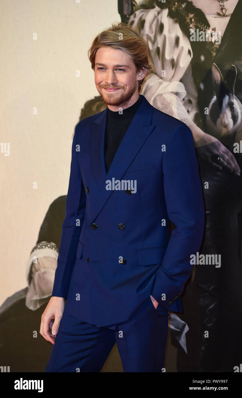London, UK. 18th October, 2018. Joe Alwyn attends the UK Premiere of 'The Favourite' & American Express Gala at the 62nd BFI London Film Festival on October 18, 2018 in London, England. Credit: Gary Mitchell, GMP Media/Alamy Live News - Stock Image