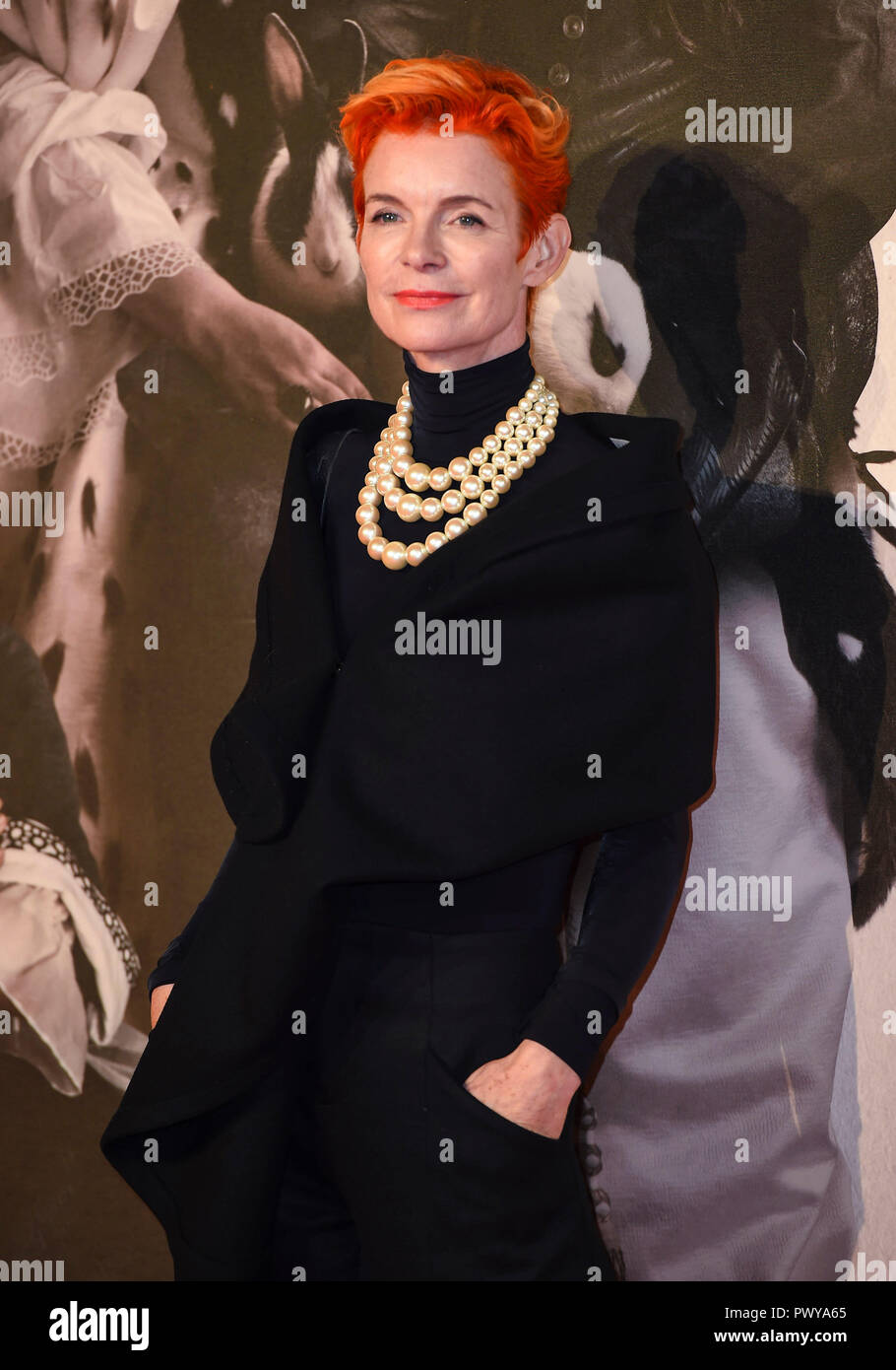 Sandy Powell attends the UK Premiere of 'The Favourite' & American Express Gala at the 62nd BFI London Film Festival. - Stock Image