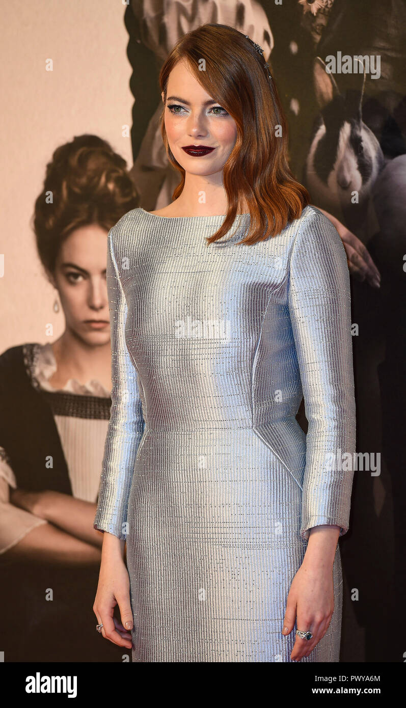 Emma Stone attends the UK Premiere of 'The Favourite' & American Express Gala at the 62nd BFI London Film Festival. - Stock Image