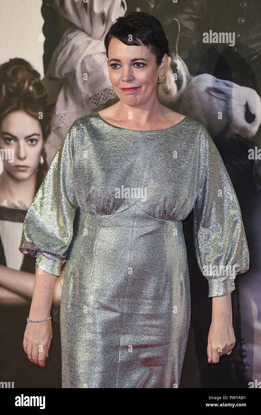 London, UK. 18th Oct, 2018. Olivia Colman attends the UK Premiere of 'The Favourite' & American Express Gala at the 62nd BFI London Film Festival. Credit: Gary Mitchell/SOPA Images/ZUMA Wire/Alamy Live News - Stock Image