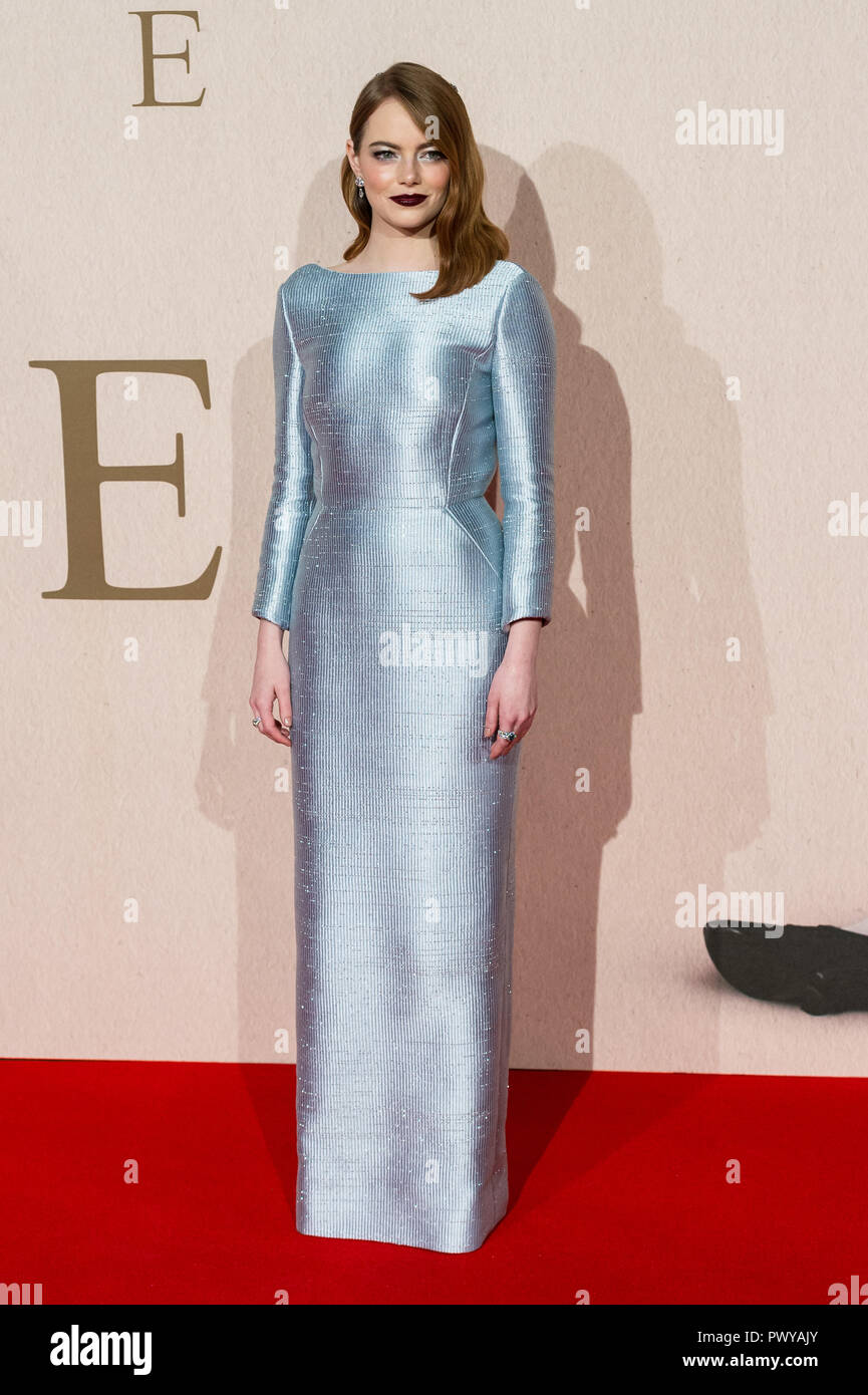 London, UK. 18th October 2018. Emma Stone attends the UK film premiere of 'The Favourite' at BFI Southbank during the 62nd London Film Festival American Express Gala. Credit: Wiktor Szymanowicz/Alamy Live News Stock Photo