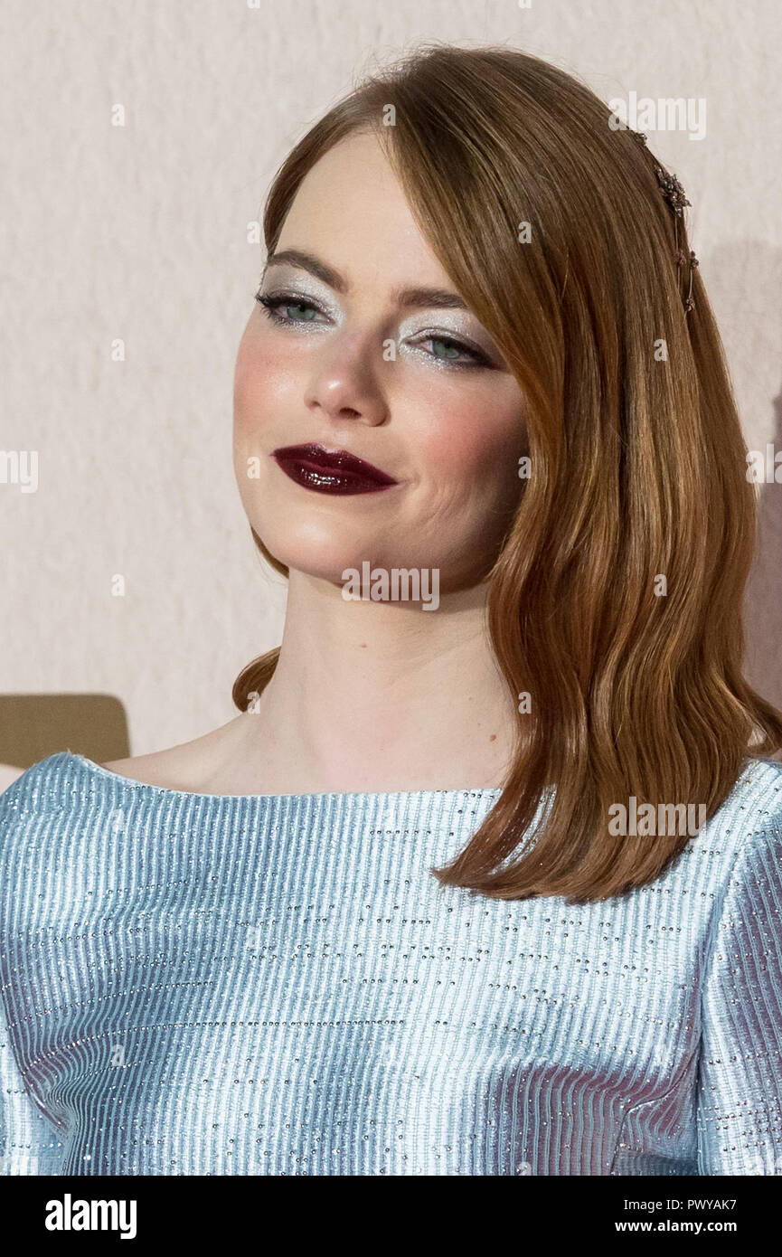 London, UK. 18th October 2018. Emma Stone attends the UK film premiere of 'The Favourite' at BFI Southbank during the 62nd London Film Festival American Express Gala. Credit: Wiktor Szymanowicz/Alamy Live News - Stock Image
