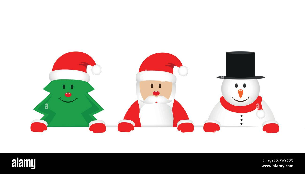 Cute Christmas Pictures.Cute Christmas Tree Santa Claus And Snowman Cartoon Vector