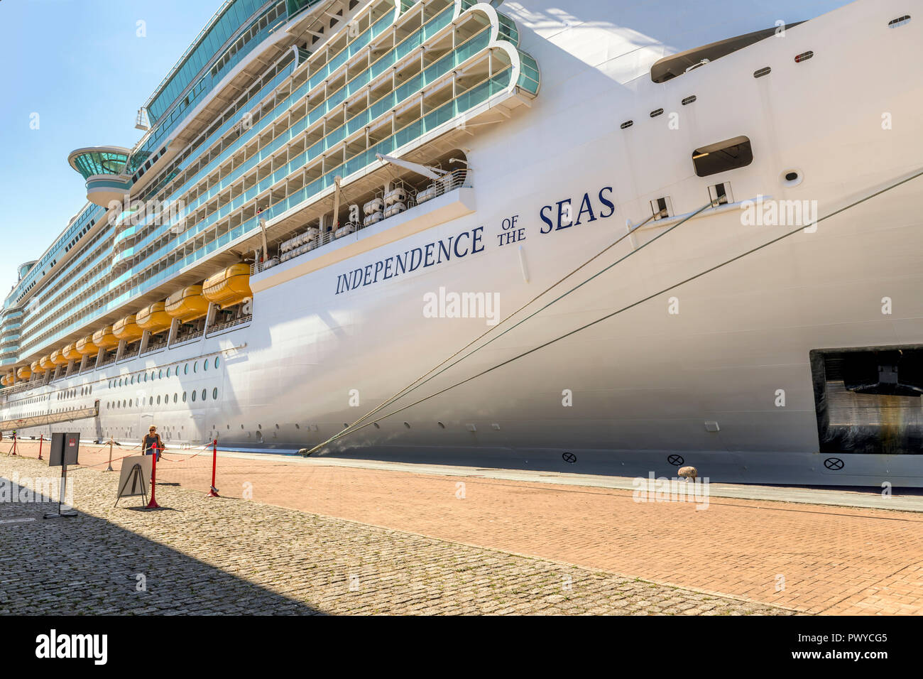 Royal Caribbean cruise ship Independence of the seas docked in Vigo Spain - Stock Image