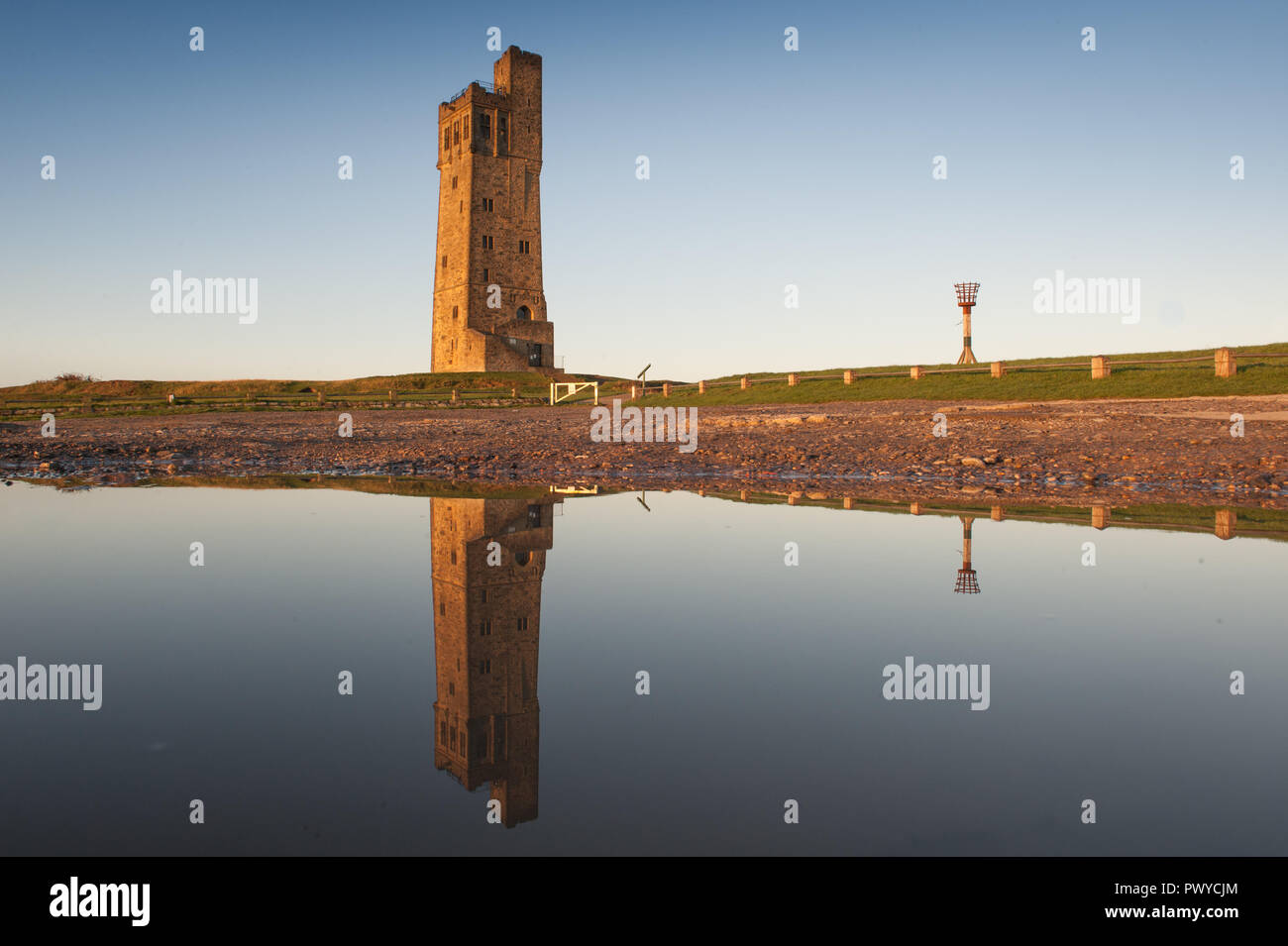 Victoria Tower on Castle Hill, a scheduled ancient monument in Almondbury overlooking Huddersfield in the Metropolitan Borough of Kirklees, West Yorks - Stock Image