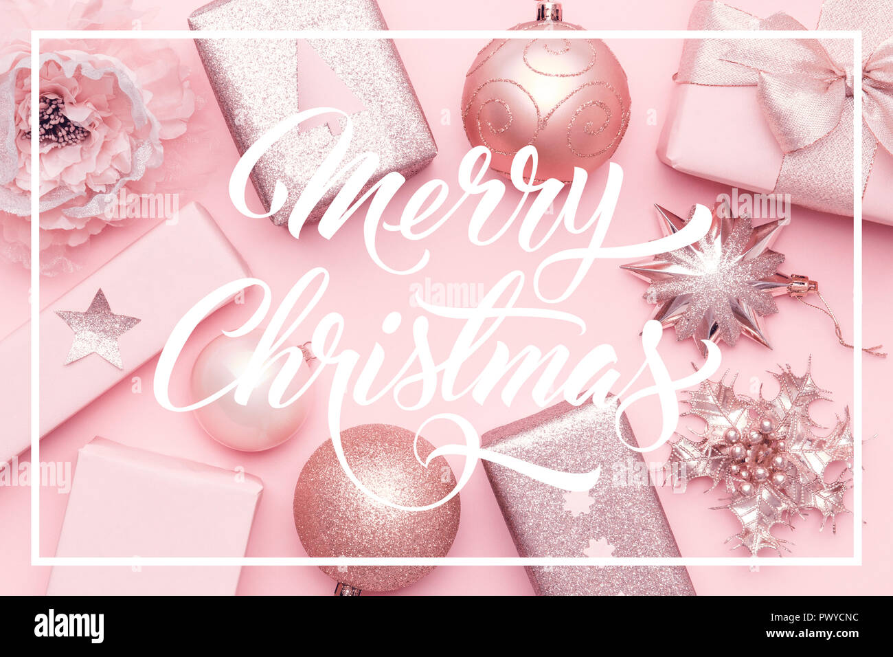 Pink Christmas.Pink Christmas Gifts Isolated On Pastel Pink Background
