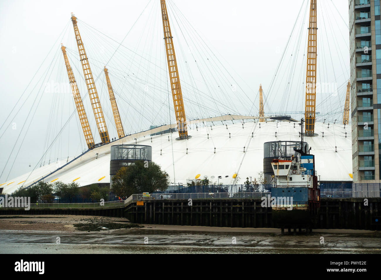 The Millennium Dome now known as The O2 Arena on the Bank of the River Thames on the Greenwich Peninsula South East London United Kingdom UK - Stock Image