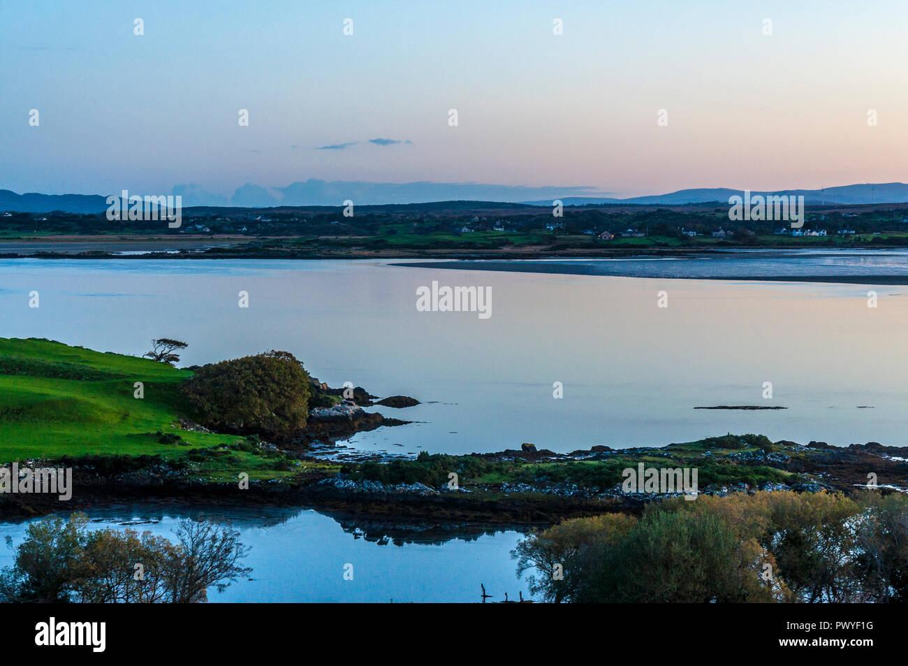 Dawn light over Loughros Mor, or More, Bay, Ardara, County Donegal, Ireland - Stock Image