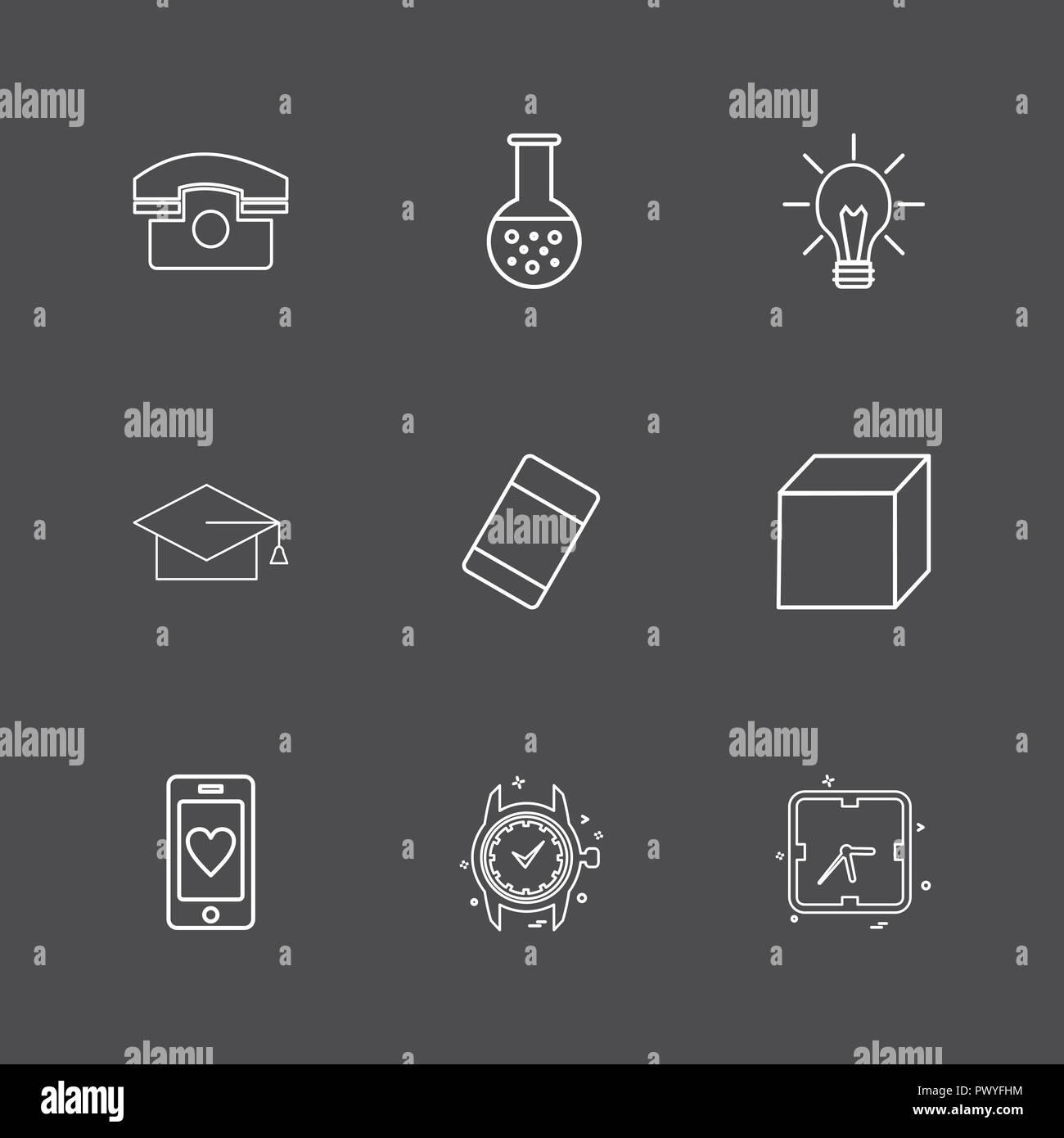 convocation , cube , idea , bulb , beaker ,Watch , time