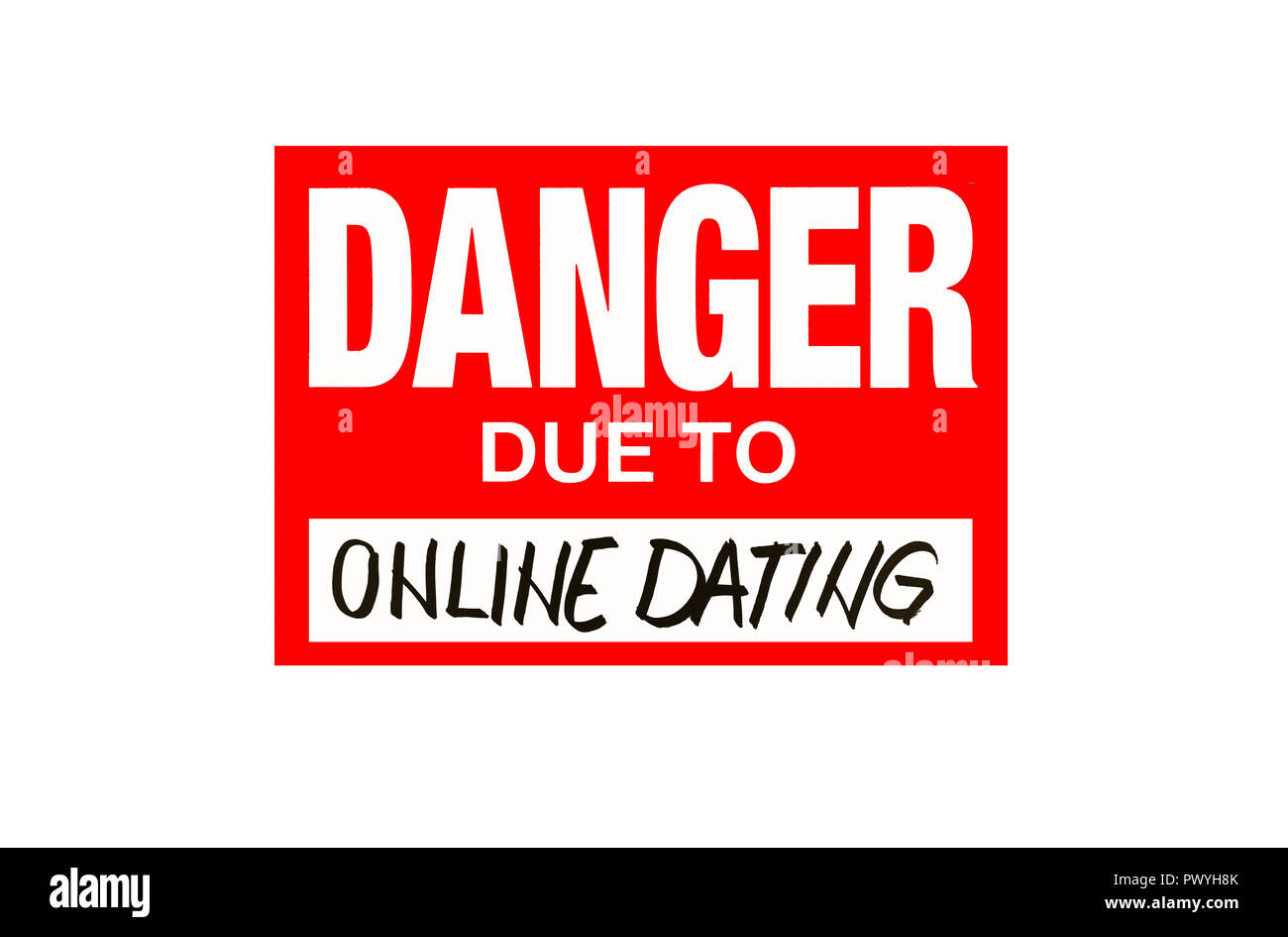 sign danger due to online dating isolated on white with black