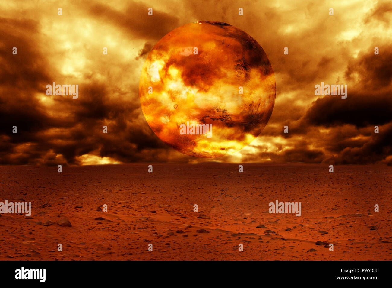 red planet illustration with desert ground - Stock Image