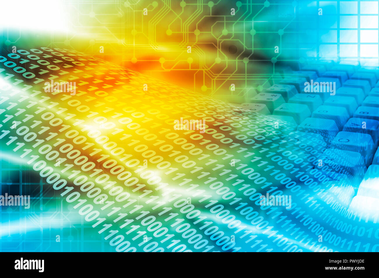 abstract background with binary digits and computer keyboard - Stock Image
