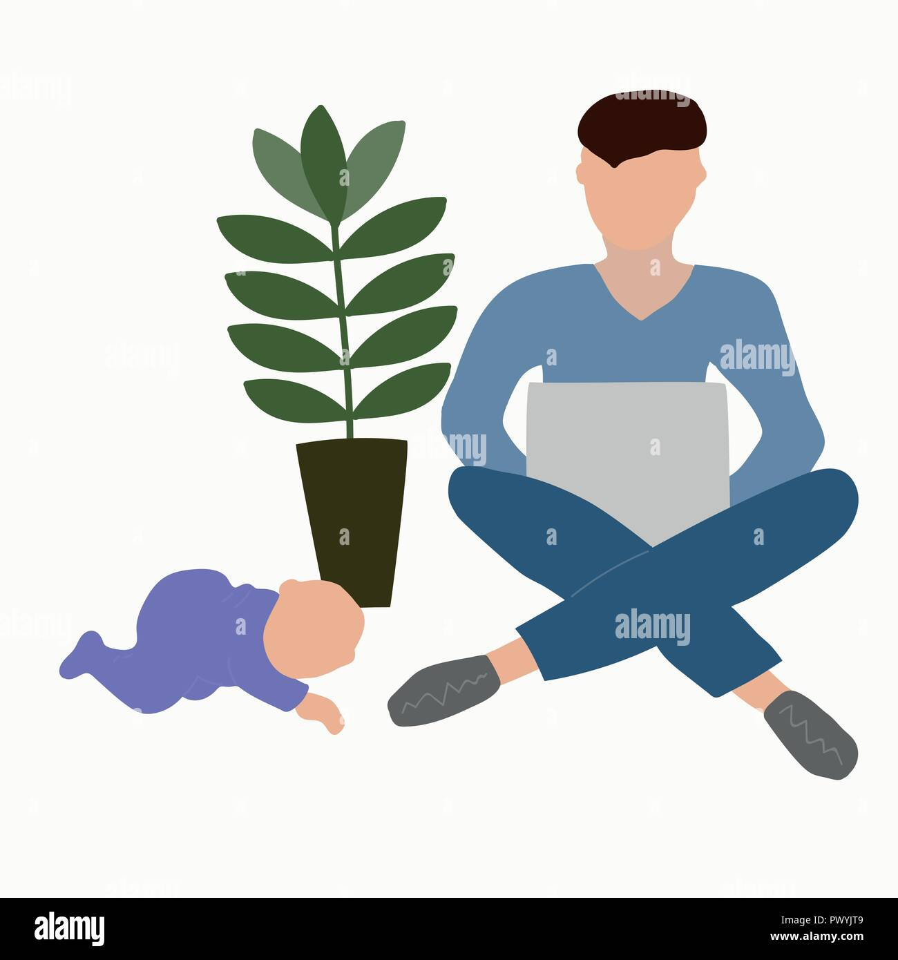 Paternity leave. Father with a baby. - Stock Image