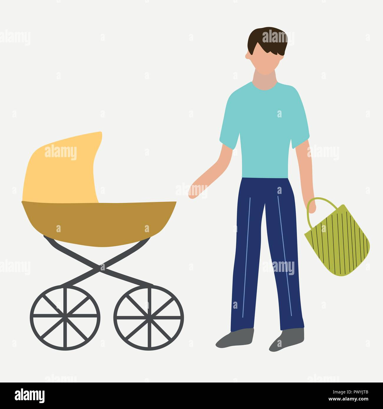 Paternity leave. Father with a pram. - Stock Image