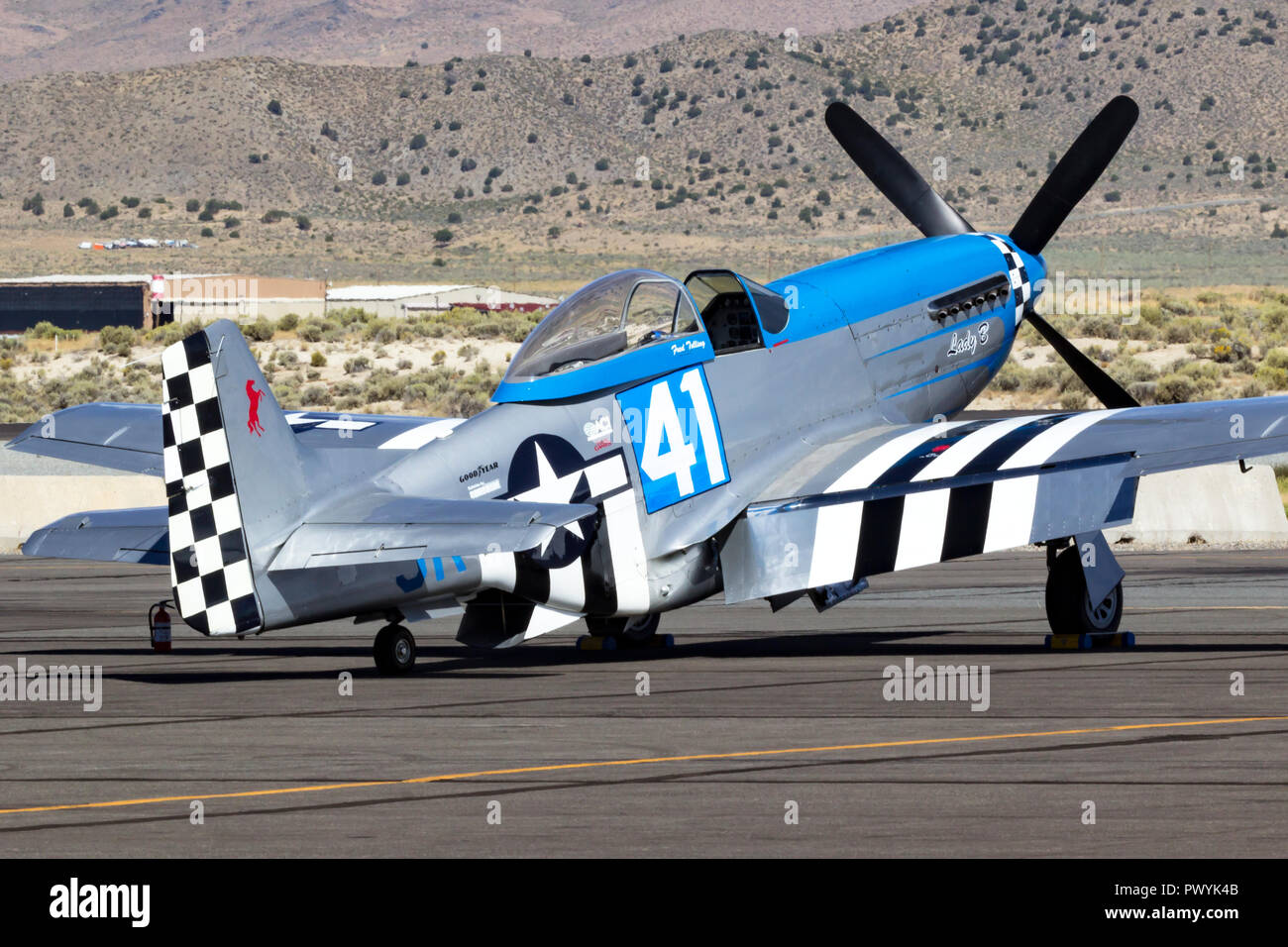 P-51 Mustang and Unlimited Air Racer 'Lady B' sits on the ramp prior to a heat race at the 2018 Reno National Championship Air Races. - Stock Image
