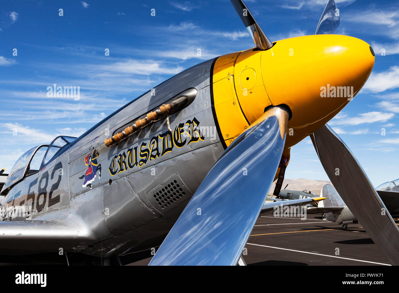 P-51 Mustang and Unlimited Air Racer 'Crusader' sits in the pit area during the 2018 Reno National Championship Air Races. - Stock Image