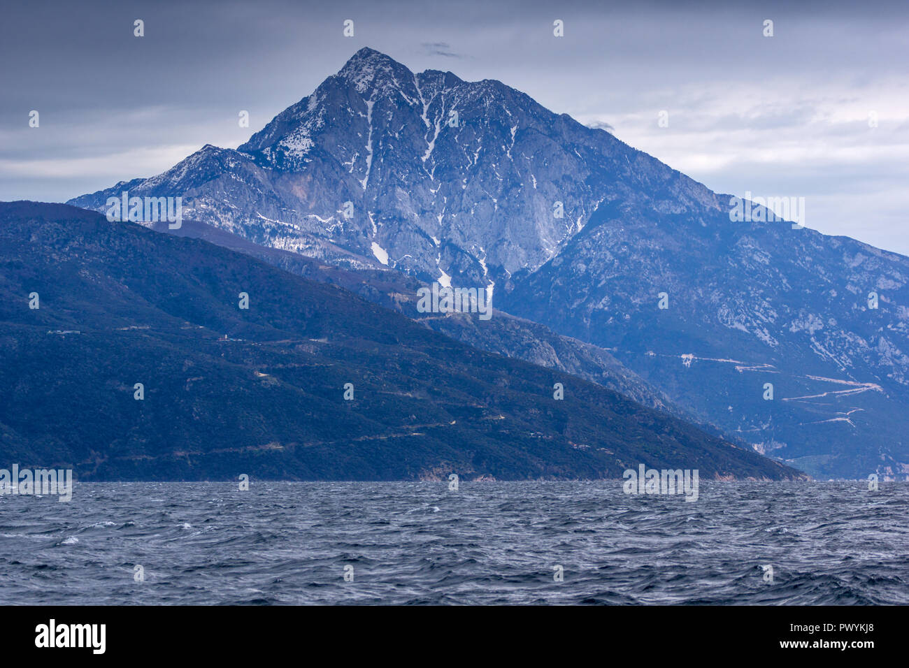 Landscape of Mount Athos in Autonomous Monastic State of the Holy Mountain, Chalkidiki, Greece - Stock Image