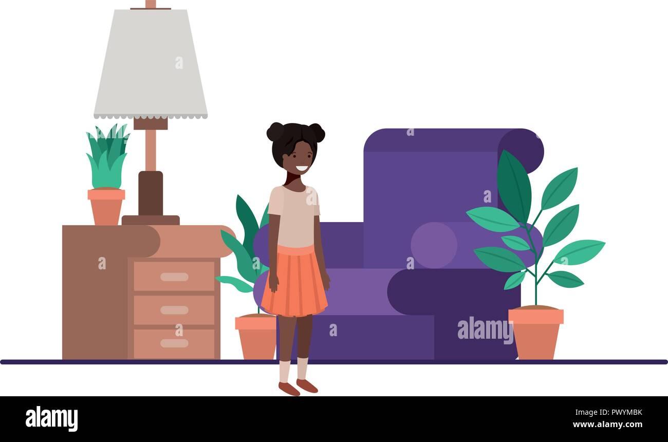 little black girl in livingroom - Stock Image