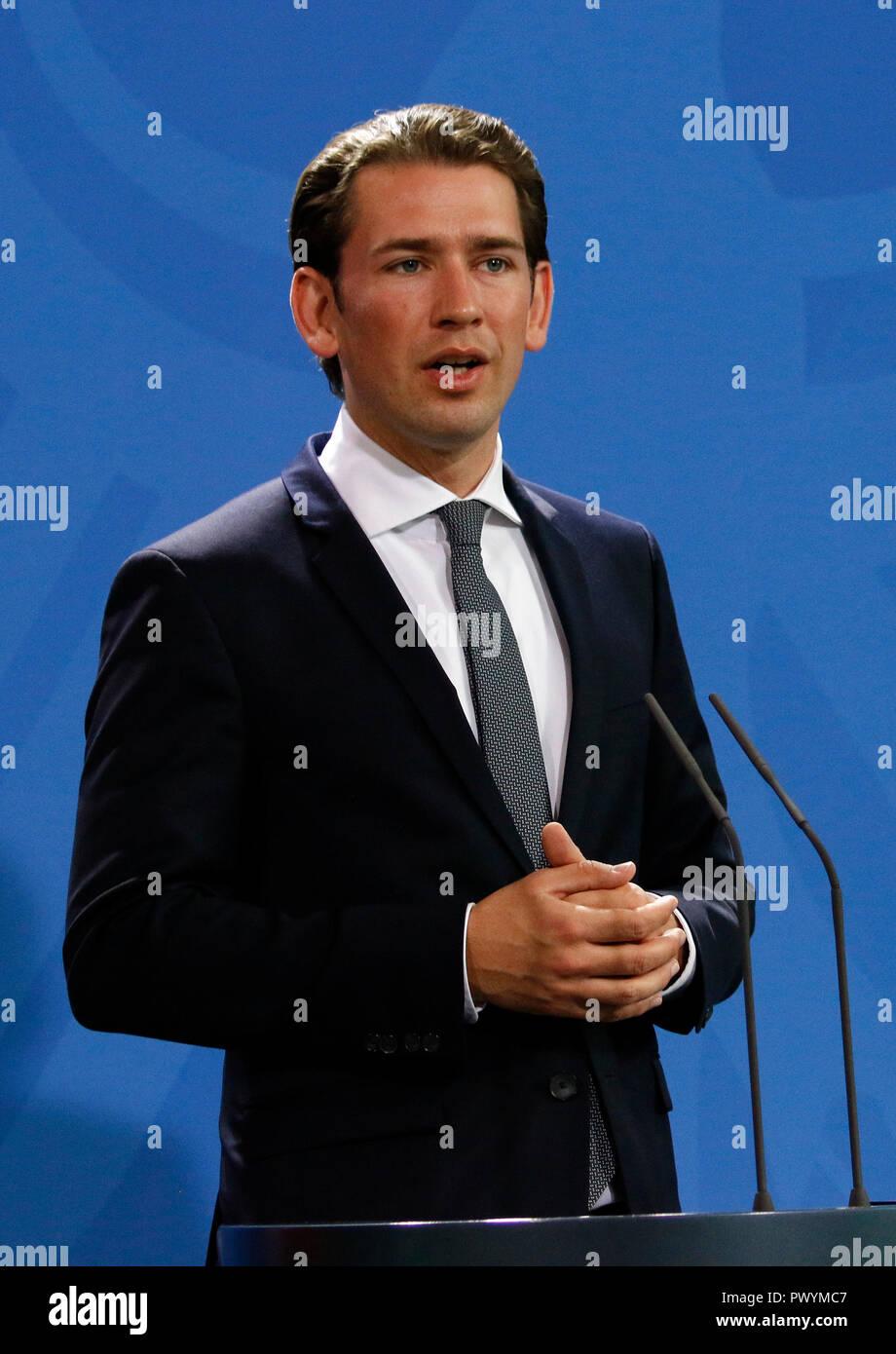 Sebastian Kurz - Treffen der dt. Bundeskasnzlerin mit ihrem oesterreichischen Amtskollegen, Bundeskanzleramt, 16. September 2018, Berlin  (nur fuer re Stock Photo