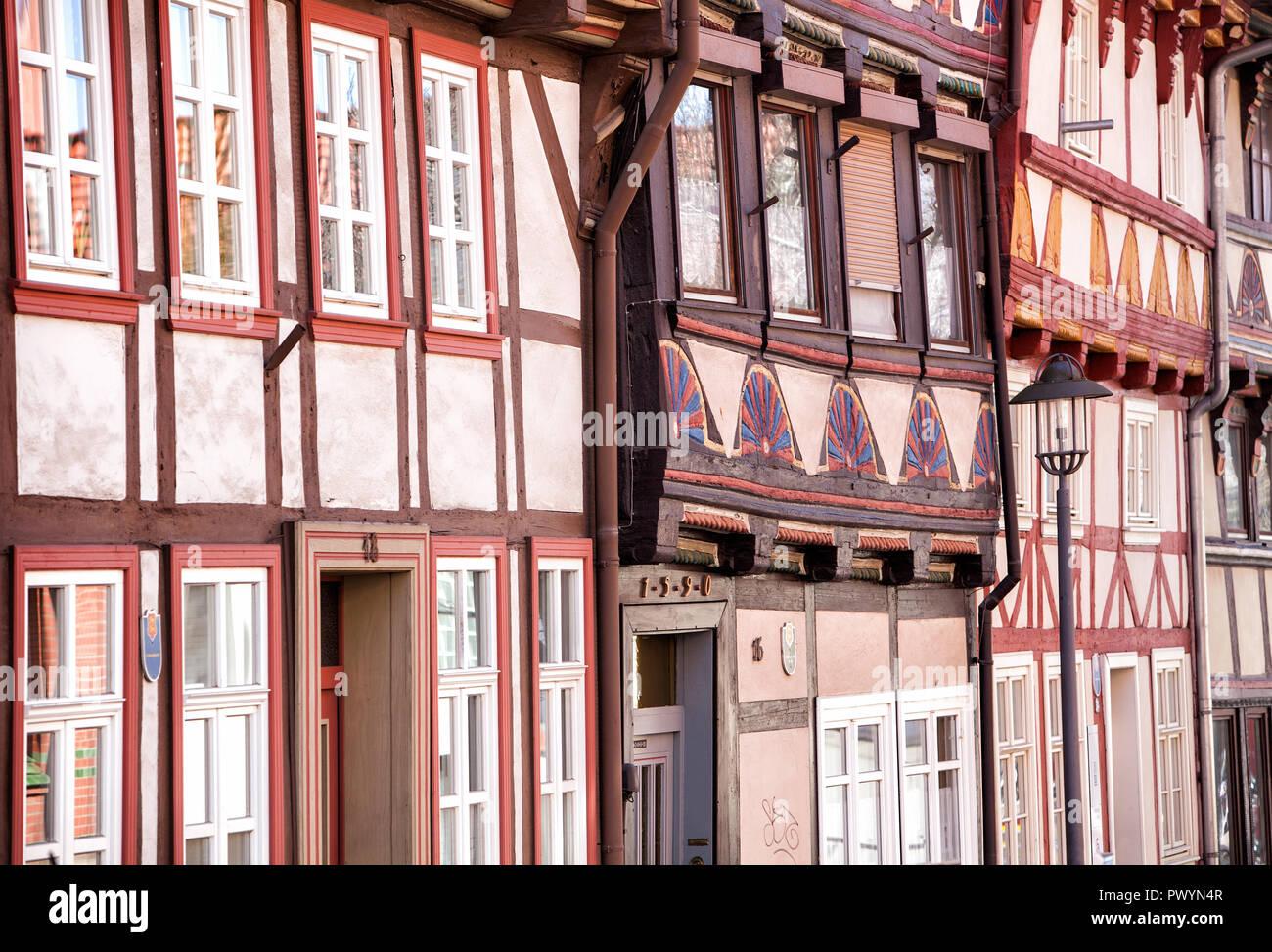 Half-timbered houses, Hinterstraße, Duderstadt, Lower Saxony, Germany, Europe - Stock Image