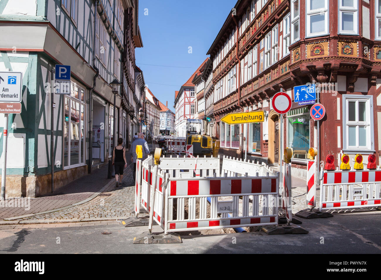 Construction site, Duderstadt, Lower Saxony, Germany, Europe - Stock Image