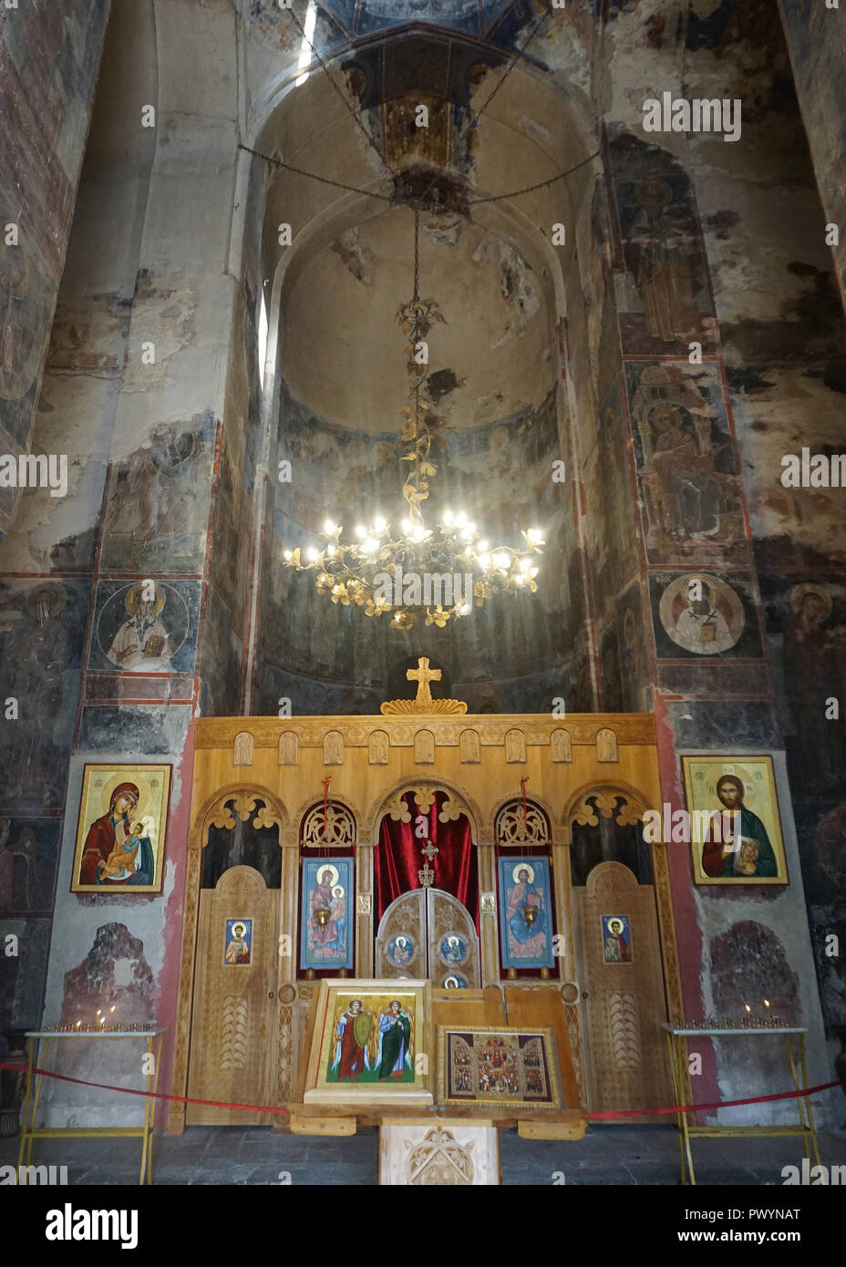 Gremi Monastery Castle Church Iconostasis in Altar with Icons and Frescoes - Stock Image