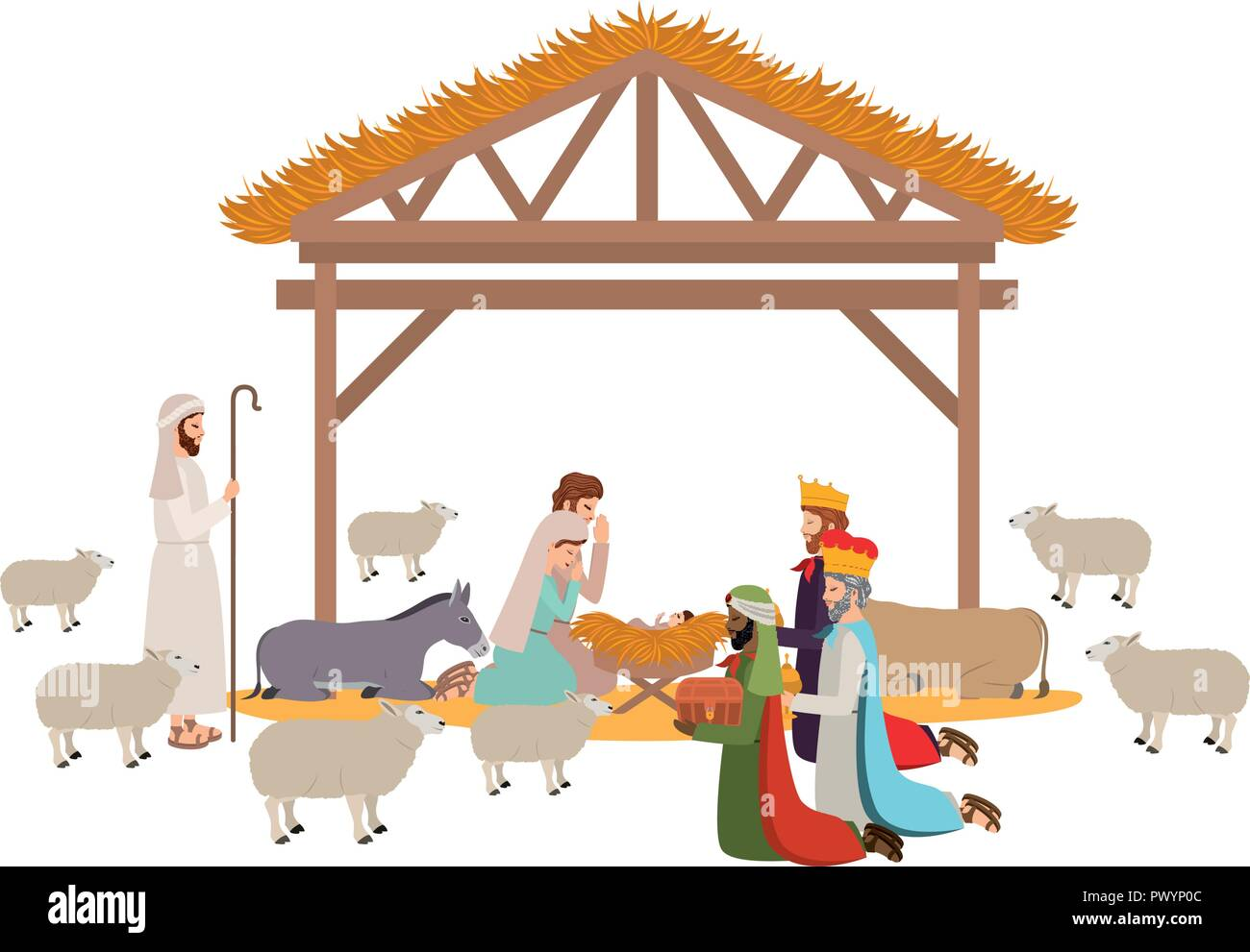 holy family in stable with wise kings manger - Stock Vector