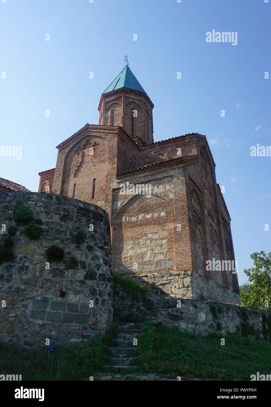 Gremi Monastery Church View with Stairs Wall and Blue Sky - Stock Image