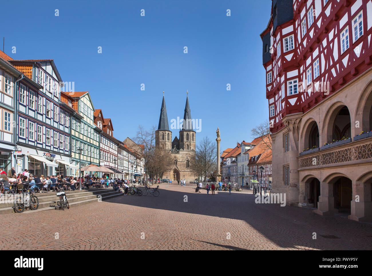 Town hall, Market street, Duderstadt, Lower Saxony, Germany, Europe - Stock Image