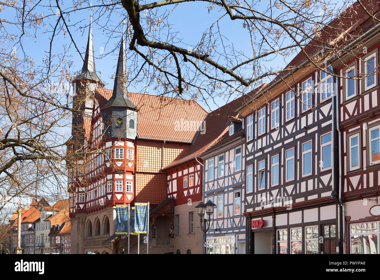 Town hall, Duderstadt, Lower Saxony, Germany, Europe - Stock Image