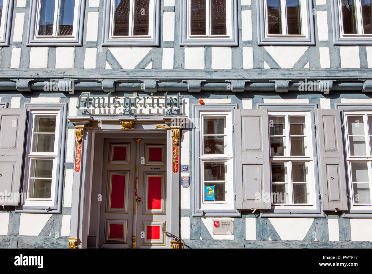 District Court, Half-timbered houses, Duderstadt, Lower Saxony, Germany, Europe - Stock Image