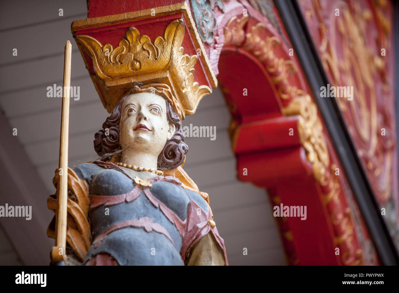Woman with sword and libra, City hall stairs, symbol for justice, historic town hall, Duderstadt, Lower Saxony, Germany, Europe - Stock Image