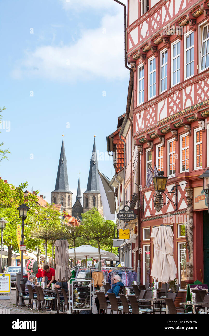 Half-timbered houses, Duderstadt, Lower Saxony, Germany, Europe - Stock Image