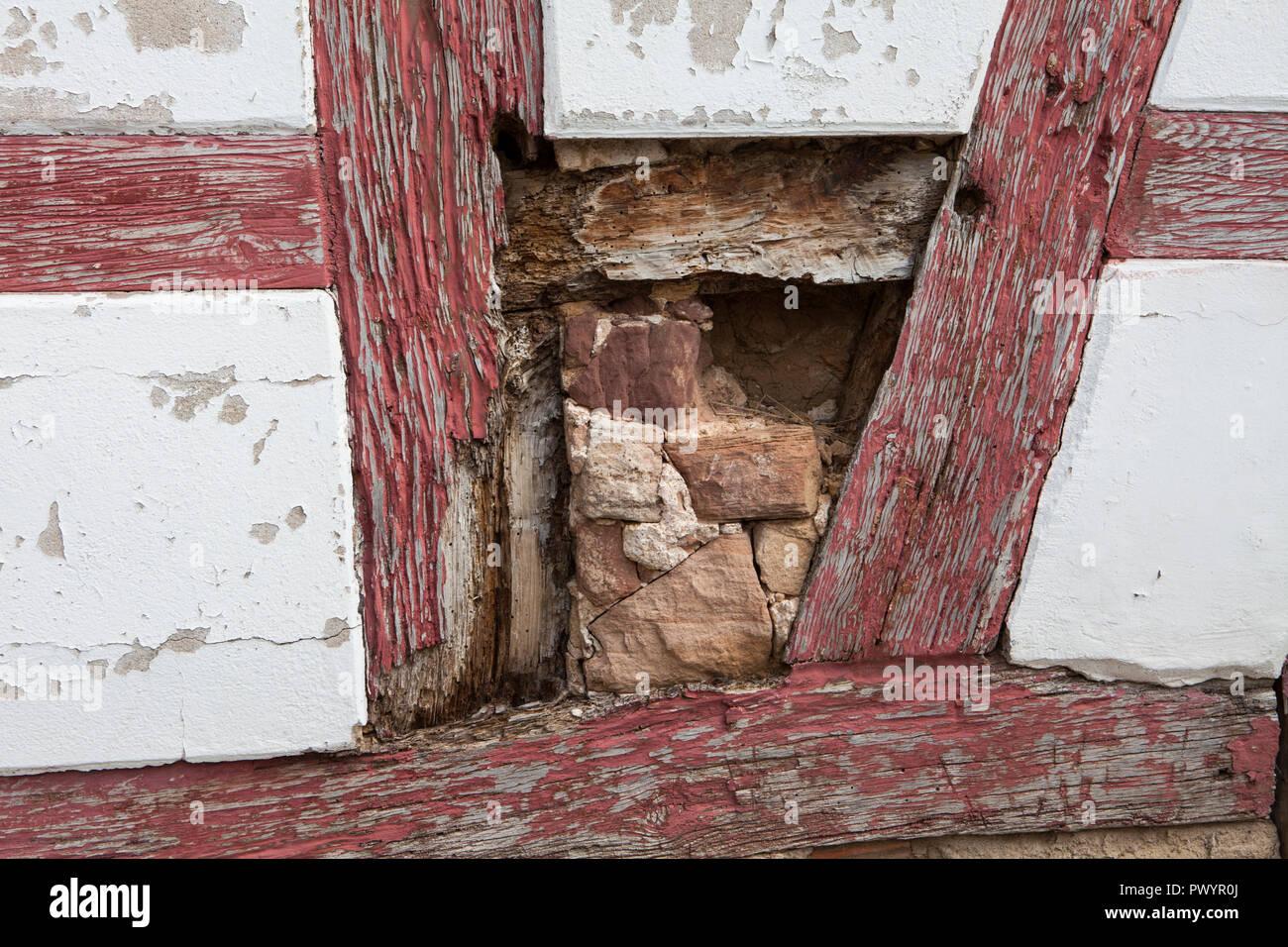 Damaged half-timbered house, Duderstadt, Lower Saxony, Germany, Europe Stock Photo