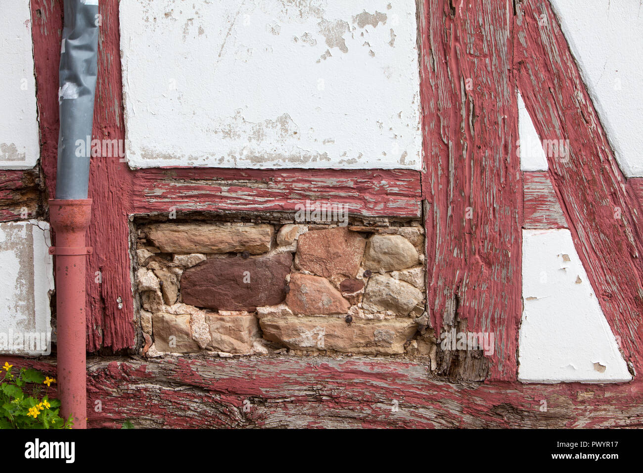 Damaged half-timbered house, Duderstadt, Lower Saxony, Germany, Europe Stock Photo
