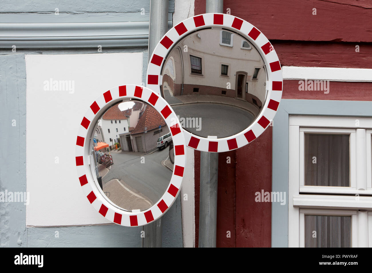 mirrors at the Hinterstraße, Duderstadt, Lower Saxony, Germany, Europe - Stock Image