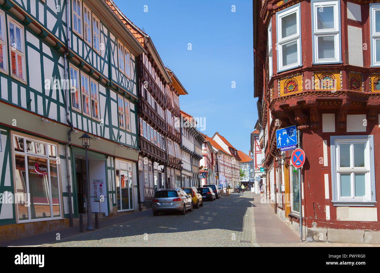 Steinstrasse, Duderstadt, Lower Saxony, Germany, Europe - Stock Image