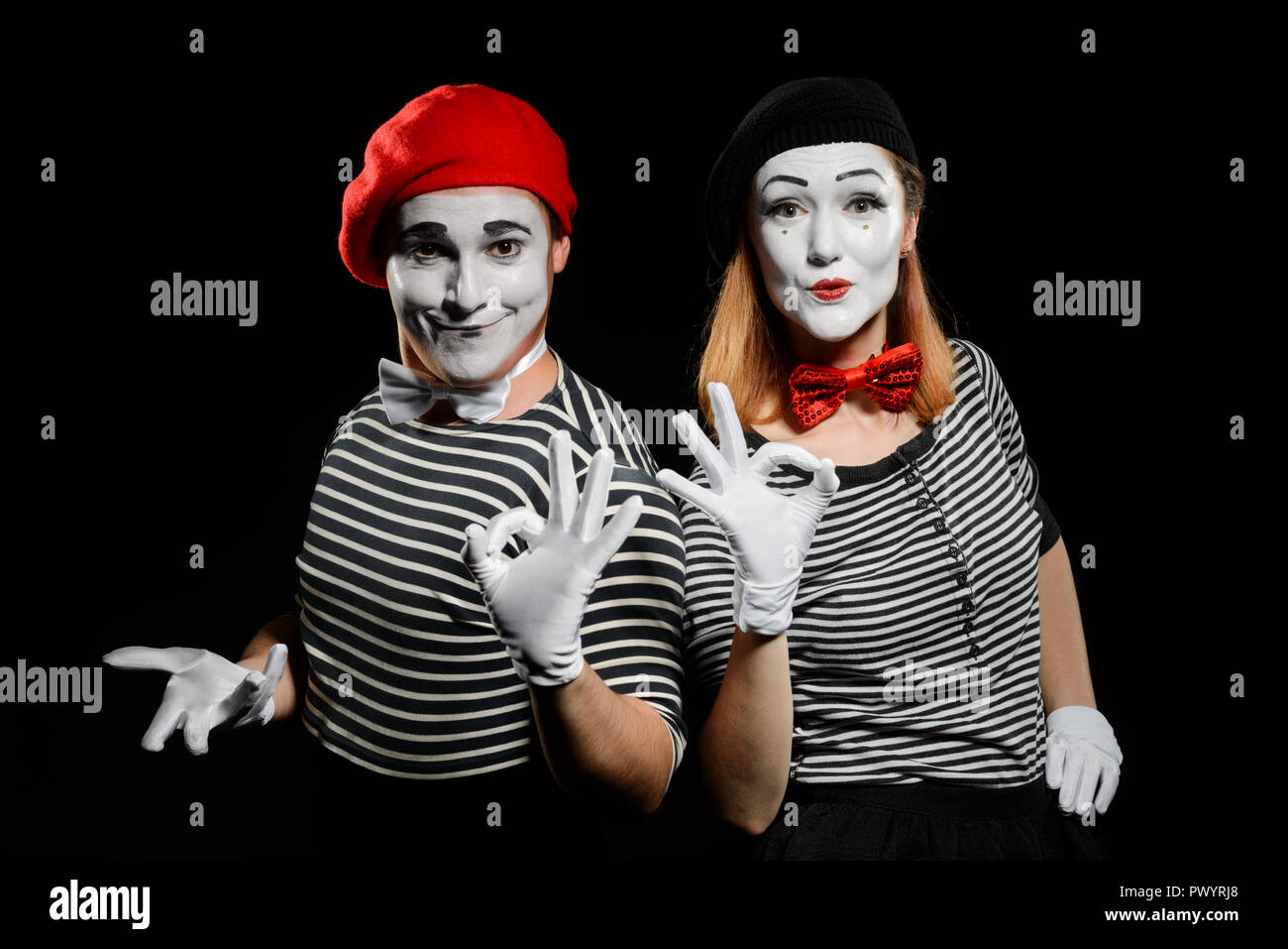 Male and female mime Stock Photo
