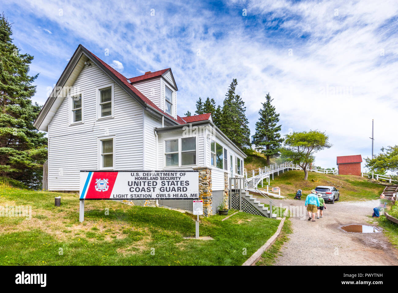 Keepers House built 1854 at Owls Head Lighthouse in Owls Head Light State Park on West Penobscot Bay in Maine in the United States - Stock Image