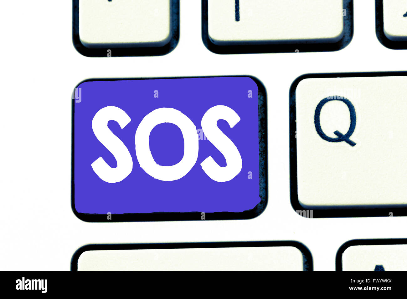 Handwriting text Sos. Concept meaning Urgent appeal for help International code signal of extreme distress. - Stock Image