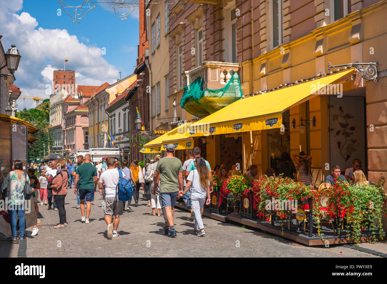 Vilnius old town, view in summer along Pilies Gatve - the main thoroughfare in the center of the historical Old Town quarter of Vilnius, Lithuania. Stock Photo